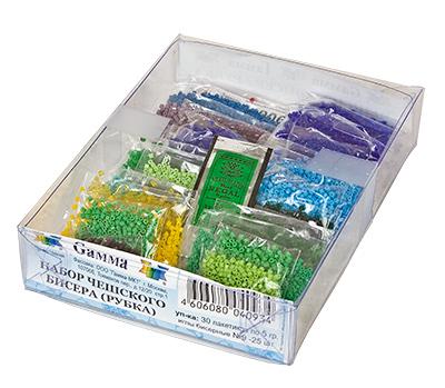 В набор входит 30 пакетиков разных цветов бисера рубки 10/0, производства Чехия и набор бисерных игл.Вес одного...