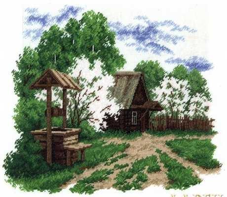 Схемы вышивки деревенских пейзажей 25