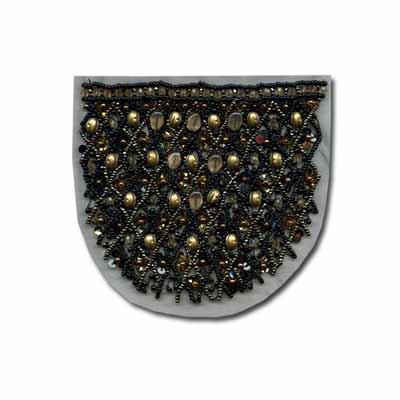 Купить Нашивка Декоративное украшение пришивное накладка на карман из бисера и бусин 1 шт.