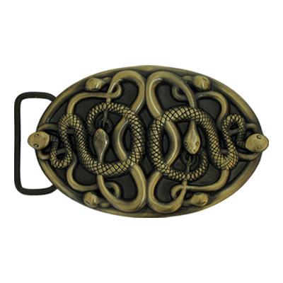 Пряжка декоративная для ремня в форме овала, на которой расположены змеи.  Размер пряжки: 110х68...