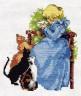 """Набор для вышивки """"Девочка и кошки"""" 1 шт. (""""Кларт"""" 0-026) 15см х 13см"""