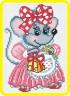 """Набор для вышивки """"Мышка с подарком """" 1 шт. (""""М.П.Студия"""" нв 085) 14см х 20см"""