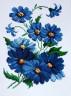 """Набор для вышивки """"Синие цветочки"""" 1 шт. (""""РС студия"""" таблица 30) 20см х 29см"""