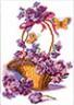 """Канва с рисунком """"Корзина с цветами"""" 1 шт. (399) 24см х 35см"""