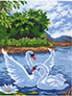 "Канва с рисунком ""Два лебедя"" 1 шт. (755) 24см х 35см"