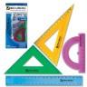 """Набор чертежный средний """"Crystal"""" цветной блистер 4 шт. (BRAUBERG 210296) пластик"""