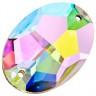 """Стразы пришивные овальные Crystal AB пакет 3 шт. (""""Zlatka"""" ZSS-04) 16мм х 11мм стекло"""