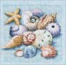 """Набор для вышивки """"Ракушки на голубом"""" 1 шт. (""""Dimensions"""" 13725) 25см х 25см"""