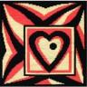"""Набор для вышивки """"Символ любви (черно-оранж.)"""" подушка 1 шт. (""""Panna"""" ПД-491) 36см х 36см"""