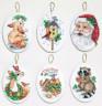 """Набор для вышивки """"Санта и животные"""" ассорти 6 шт. (""""Janlynn"""" 023-0216) 10,2см х 7,7см"""