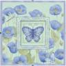 """Набор для вышивки """"Голубые маки и бабочки"""" со стеклянной рамкой 1 шт. (""""Dimensions"""" 73108) 20см х 20см"""