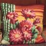"""Набор для вышивки """"Цветущий кактус"""" подушка 1 шт. (""""Collection D'Art"""" 5101) 40см х 40см"""