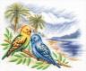 """Набор для вышивки """"Волнистые попугайчики"""" 1 шт. (""""Panna"""" ПТ-0856) 30см х 25см"""