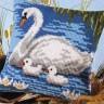 "Набор для вышивки ""Пруд с лебедями"" (подушка) 1 шт. (""Vervaco"" 1200/797) 40см х 40см"