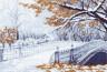 """Канва с рисунком """"Первый снег"""" 1 шт. (Матренин Посад 1200) 33см х 45см"""